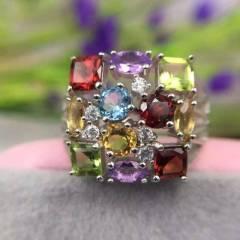 超能量纯天然彩色水晶戒指,925银活口戒圈,所有水晶确保纯天然,这样才会真正有水晶的正能量哦,