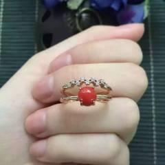 独家新款,925银红珊瑚戒指,款式清新脱俗,精致秀气,蛋面尺寸约圆5mm,秒杀