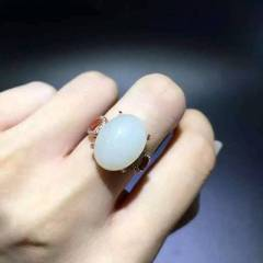 简约爆款!!!纯天然和田白玉戒指,12×16mm,925纯银镀白金玫瑰金黄金三色,活口戒圈,
