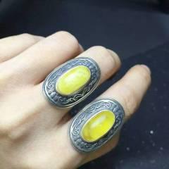 天然无优化蜜蜡时尚护指戒 蜜蜡戒指,8×16mm,完美,925银泰银工艺,特价元
