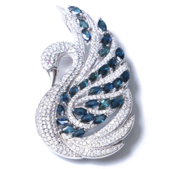 刘海蓝宝石 s925银蓝宝石(天鹅)吊坠 胸针 3.0cm*5.4cm 时尚饰品吊坠