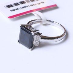 融禧珠宝 白18k金配钻蓝宝石戒指  蓝宝石