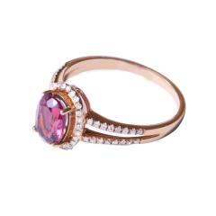 融禧珠宝 18k玫瑰金配钻碧玺戒指  时尚饰品碧玺戒指
