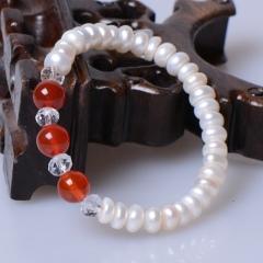 玉中皇 天然淡水珍珠手鏈 時尚飾品仿女款手串 甜美女生手珠 5-7mm