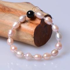 玉中皇 天然淡水珍珠手鏈  時尚飾品仿女款手串 甜美女生手珠 8-10mm