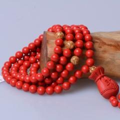 玉中皇  天然紅朱砂手鏈108顆佛珠多圈 赤砂手串多層時尚飾品女 珠徑6mm