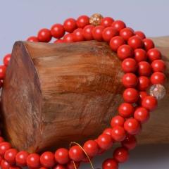玉中皇 天然红朱砂手链108颗佛珠多圈 赤砂手串多层时尚饰品女 珠径3.8mm