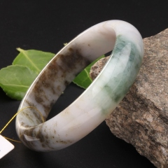 玉中皇 天然缅甸翡翠A货 手镯 珠宝玉器宽条手镯 白色