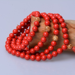 玉中皇 天然紅朱砂手鏈108顆多圈 觀音赤砂手串多層時尚飾品女 珠徑6mm
