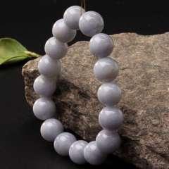 玉中皇 天然缅甸翡翠A货 手链 圆珠玉手串 白色