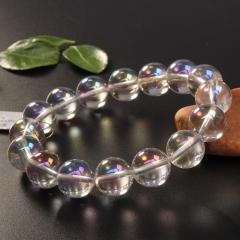 玉中皇者 纯天然顶级剔透彩虹白水晶手链 耀眼光芒 女款手串手链