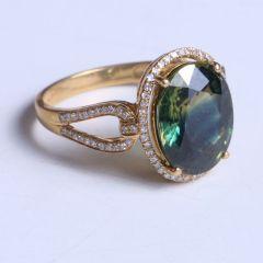 鑫恒珠宝  18k金蓝宝石戒指  重量4.38g  蓝宝石