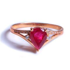 鑫恒珠宝  18k金红宝石戒指  重量2.23g  红宝石