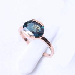 洪光蓝宝石 18k玫瑰金蓝宝石戒指 2.94g 时尚饰品