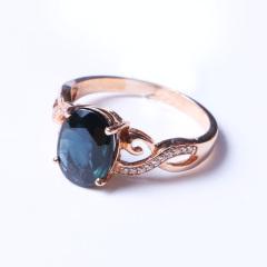 洪光蓝宝石 18k玫瑰金蓝宝石戒指2.78g 时尚饰品