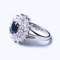 洪光蓝宝石 s925银蓝宝石戒指 时尚饰品