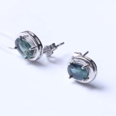 洪光藍寶石 s925銀藍寶石耳釘 時尚飾品