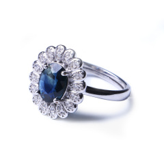 洪光蓝宝石 s925银蓝宝石戒指 明星同款 时尚饰品