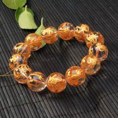 玉中皇珠宝   烫金白晶  平安水晶手串