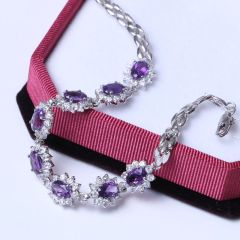925純銀鍍18k白金紫水晶手鏈