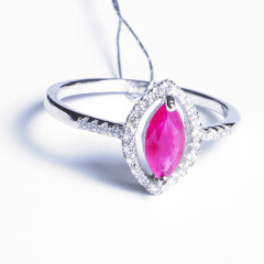 久久福珠宝  SS925银镀白红宝石女戒 戒指  女款