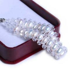 渭塘宝缘阁珠宝 水晶珍珠手链手排款5-6mm 米形珍珠 17cm  珍珠