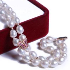 渭塘宝缘阁珠宝 两排式珍珠手链蝴蝶款 6-7mm  珍珠