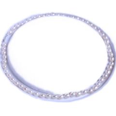 渭塘宝缘阁珠宝  米形珍珠项链天然淡水珍珠  6-7mm  45cm   珍珠