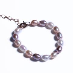 渭塘宝缘阁珠宝  彩珠手链百搭可调节 6-7mm  珍珠