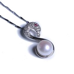 渭塘宝缘阁珠宝  紫色 白色 天鹅珍珠吊坠  9-10mm  珍珠