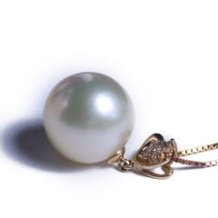 渭塘宝缘阁珠宝 南洋珍珠吊坠 14K金头  12-13 mm 珍珠