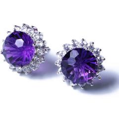 伯利尔珠宝 紫晶黄晶耳钉 10*10