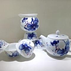 景德镇创意手绘青花茶具套装和为贵高温功夫茶陶瓷礼盒新款日用百货