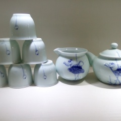 景德鎮創意手繪青花茶具套裝碧池清影高溫功夫茶陶瓷禮盒新款日用百貨