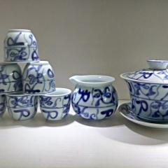 景德镇创意手绘青瓷茶具套装老茶花高温陶瓷功夫茶陶瓷礼盒刀字纹收藏