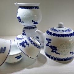 景德鎮創意手繪青花玲瓏茶具套裝 五福捧壽 高溫陶瓷功夫茶 陶瓷禮盒新款特價