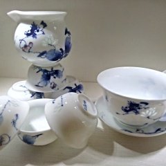 景德鎮創意手繪青花玲瓏茶具套裝 蓮年有魚 高溫陶瓷功夫茶 陶瓷禮盒新款特價