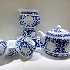 景德镇手绘青花玲珑茶具套装 缠枝莲高温陶瓷功夫茶新款特价