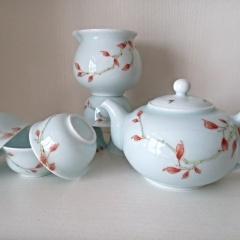 景德鎮影青瓷青白瓷手繪新彩  翠蓋紅妝  8頭功夫茶具禮品日用瓷