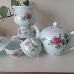 景德镇影青瓷青白瓷手绘新彩  花开富贵   8头功夫茶具礼品日用瓷