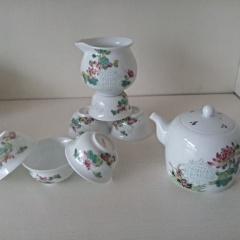 景德镇青花玲珑功夫茶具套装 手绘釉上彩 粉彩玲珑茶具新品上市
