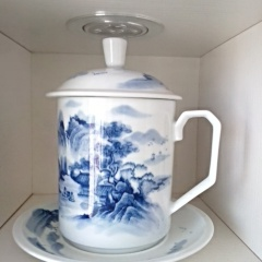 景德镇手绘青花瓷茶杯 办公杯 老板杯 山水画非小雅 礼品定制
