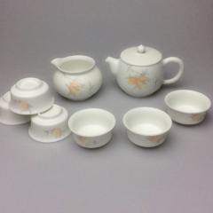 景德镇手绘新彩脂白茶具套装陶瓷器功夫茶具高档泡茶碗茶杯叁把壶