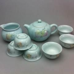 景德镇手绘新彩影青茶具套装陶瓷器功夫茶具高档泡茶碗茶杯叁把壶