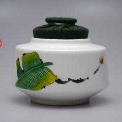 芭蕉茶仓 新彩 纯手绘  布艺罐