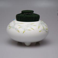 竹子茶仓新彩纯手绘布艺罐
