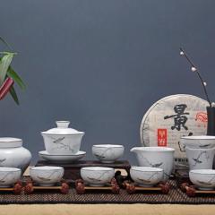 景德镇青花陶瓷    品茗杯礼品手绘茶具套组
