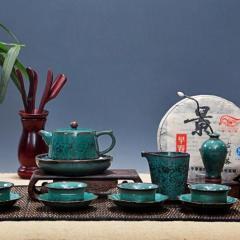 景德镇 颜色釉陶瓷 窑变柴烧天目油滴建盏品茗杯礼品手绘茶具套组