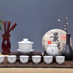 景德镇陶瓷套组  窑变柴烧  天目油滴建盏品茗杯礼品手绘茶具套组