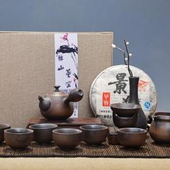 精品陶瓷 窑变柴烧 天目油滴建盏  品茗杯礼品手绘茶具套组